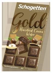 Шоколад молочный Schogetten Gold с фундуком и кусочками вафель 100 гр