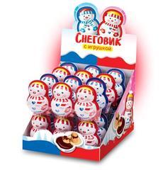 Снеговик с игрушкой с шоколадно-молочной пастой и печеньем 12 грамм
