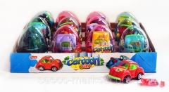 """Прозрачные пластиковые яйца с карамелью и игрушкой (гоночные машины) """"CARTOON CAR"""" 6 грамм"""