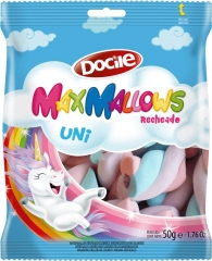 Зефир MAXMALLOWS Unicorn цветные завитки с начинкой ванильные 50 грамм