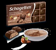 Темный шоколад Schogetten Dark Chocolate with Cocoa & Hazelnut 100 грамм