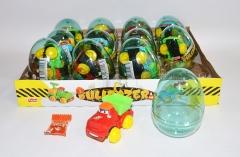 """Прозрачные пластиковые яйца с карамелью и игрушкой (строительные машинки) """"BULDOZER"""" 6 грамм"""