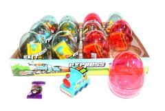 """Прозрачные пластиковые яйца с карамелью и игрушкой (паровозики) """"EXPRESS"""" 6 грамм"""