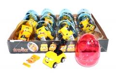"""Прозрачные пластиковые яйца с карамелью и игрушкой (строительные машинки) """"GREYDER"""" 6 грамм"""
