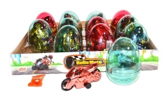 """Прозрачные пластиковые яйца с карамелью и игрушкой (мотоциклы) """"HELLO MOTO"""" 6 грамм"""