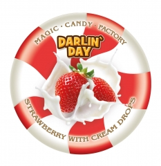 Карамель леденцовая молочная DARLIN DAY клубника и сливки 180 грамм