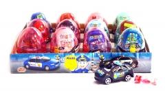 """Прозрачные пластиковые яйца с карамелью и игрушкой (полицейские машины) """"POLICE """" 6 грамм"""