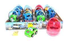 """Прозрачные пластиковые яйца с карамелью и игрушкой (машинки) """"RACERS"""" 6 грамм"""