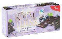 Шоколад Halloren Royal Thins с черной смородиной 200 гр