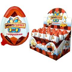 Яйцо с игрушкой шоколадно-молочной пастой и печеньем 10 грамм