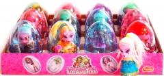 """Прозрачные пластиковые яйца с карамелью и игрушкой """"MONSTER GIRL"""" 6 грамм"""